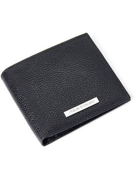 Черный кожаный кошелек для монет с карманами Armani Exchange