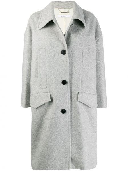 Серое кашемировое длинное пальто с капюшоном Givenchy