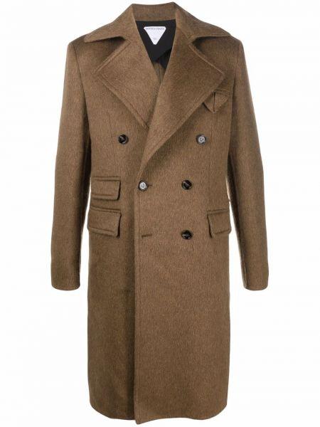 Brązowy płaszcz wełniany Bottega Veneta