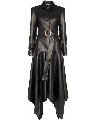 Черное пальто классическое с капюшоном с воротником Matériel