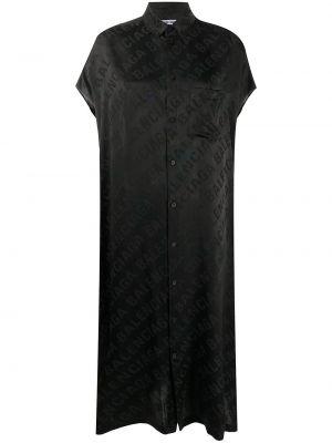Черное шелковое платье с воротником с карманами Balenciaga