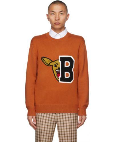 Оранжевый шерстяной длинный свитер с воротником Burberry