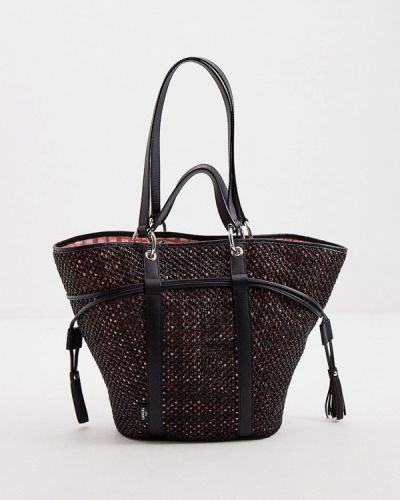 Черная сумка с ручками из натуральной кожи Lancel