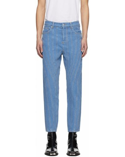 Niebieskie jeansy z paskiem srebrne Mugler
