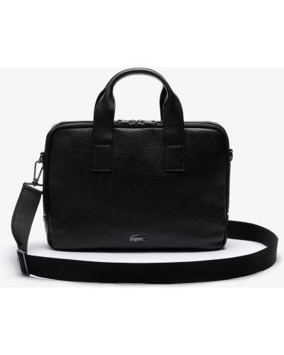 Черный мягкий кожаный кошелек Lacoste