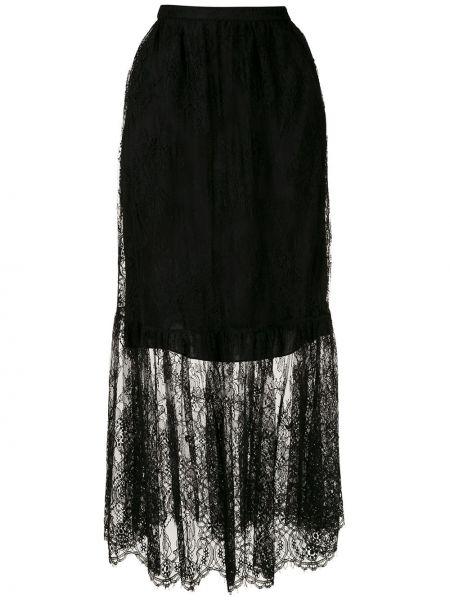Черная прямая юбка макси на молнии с поясом Reinaldo Lourenço