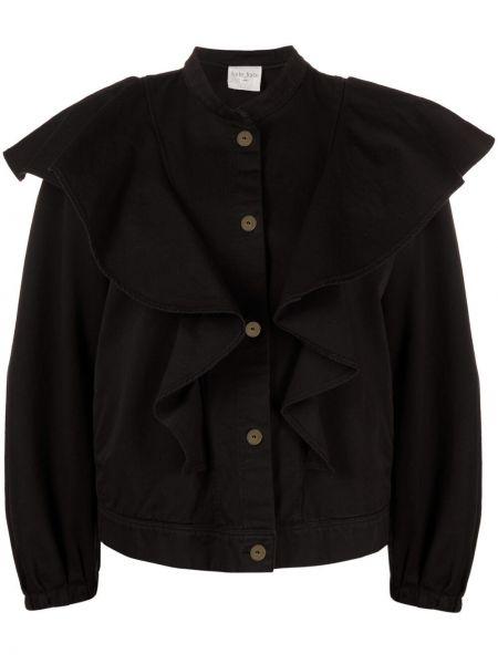 Ватная черная длинная куртка с воротником Forte Forte