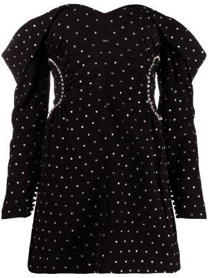 Черное платье макси с открытыми плечами с вырезом Self-portrait