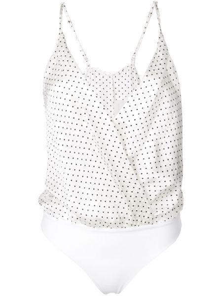 Шелковое белое боди с вырезом Michelle Mason