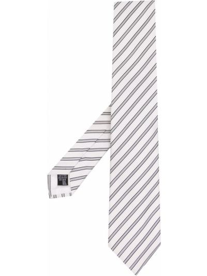Czarny krawat w paski z jedwabiu Emporio Armani