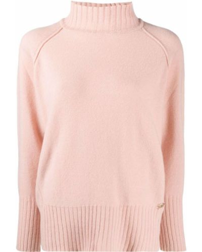 Шерстяной розовый джемпер в рубчик с высоким воротником Blumarine