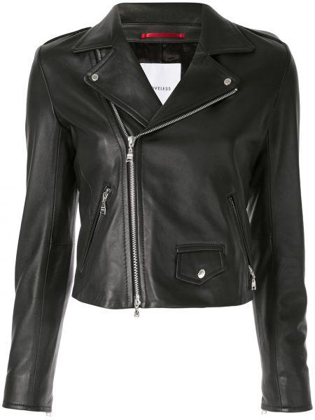 Черная куртка с запахом на молнии байкерская Loveless
