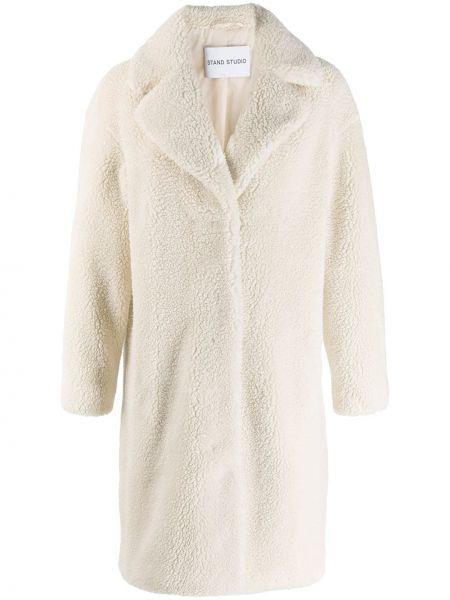 Белое длинное пальто Stand