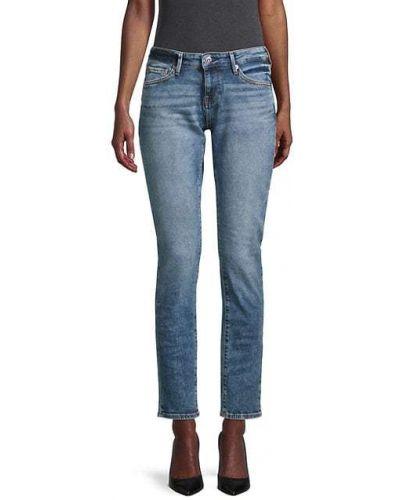 Синие джинсы с вышивкой с карманами True Religion