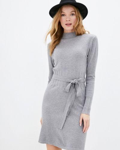 Серое трикотажное вязаное платье B.style