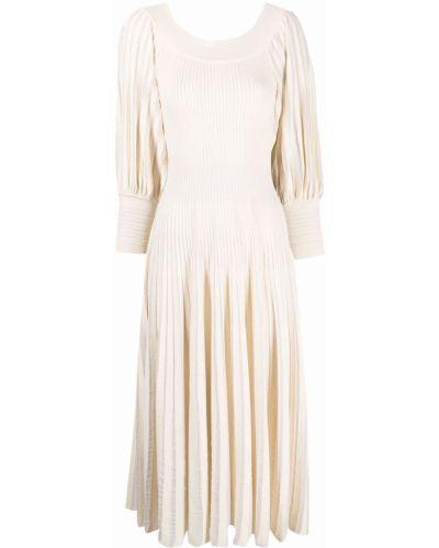 Beżowa prążkowana sukienka midi z wiskozy Antonino Valenti