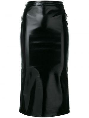 Черная прямая юбка миди в рубчик Mcq Alexander Mcqueen