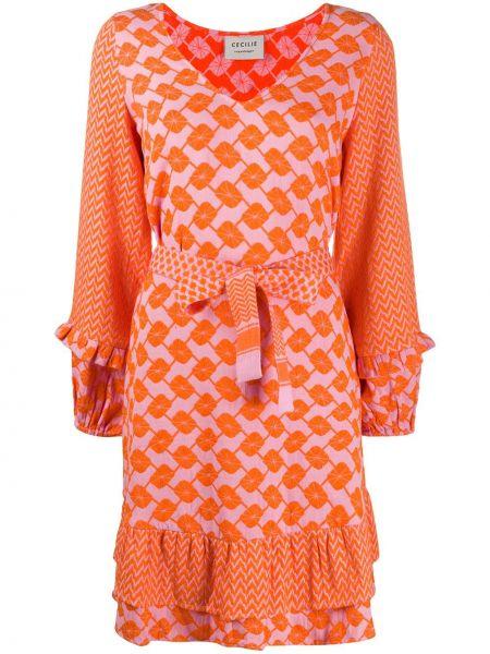 С рукавами хлопковое оранжевое платье на молнии Cecilie Copenhagen