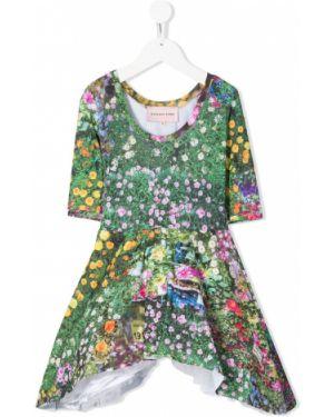 Асимметричное зеленое платье с рукавами из фатина с вырезом Natasha Zinko Kids