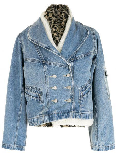 Хлопковая синяя куртка с воротником Nk