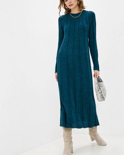 Трикотажное синее вязаное платье Please