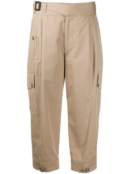 Кожаные укороченные брюки с поясом на пуговицах Dolce & Gabbana