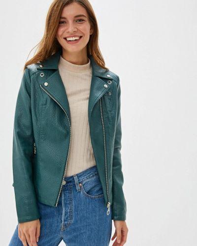 Кожаная куртка осенняя зеленая Elardis