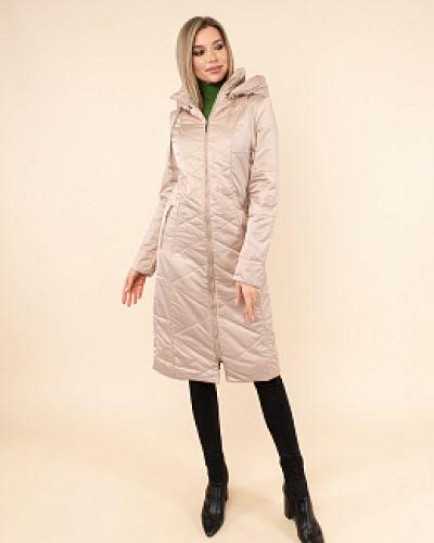 Бежевое пальто с карманами каляев