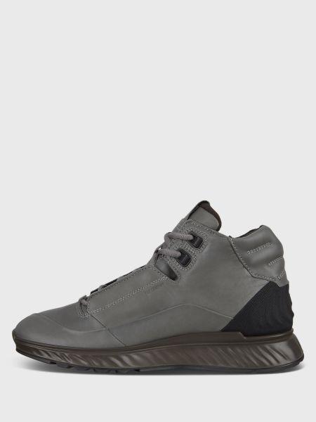 Серые кожаные ботинки на шнуровке Ecco