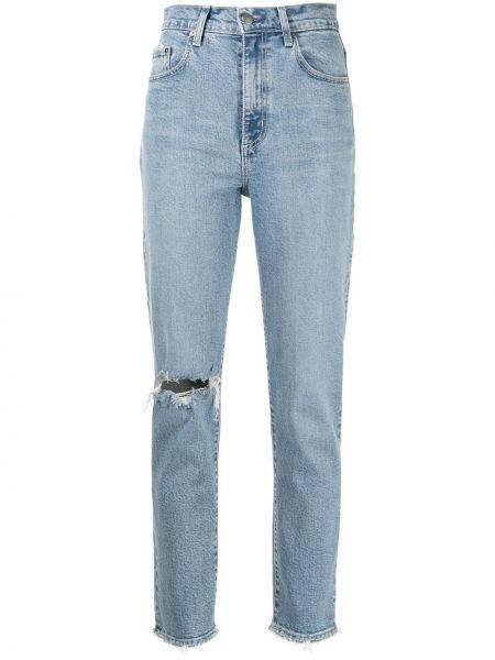 Синие джинсы бойфренды с карманами на молнии Nobody Denim