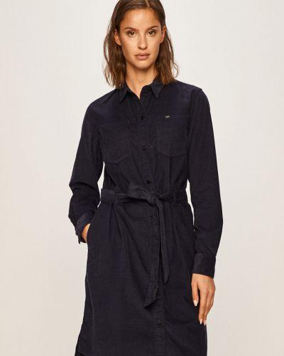 Платье мини с декольте - синее Lee