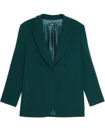 Зеленый шерстяной приталенный однобортный пиджак Alena Akhmadullina