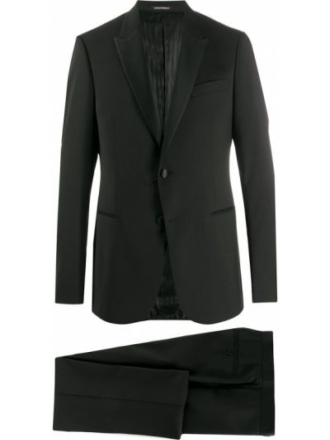 Czarny garnitur wełniany z długimi rękawami Emporio Armani