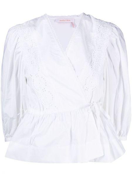 Белая блузка с запахом с вышивкой See By Chloé