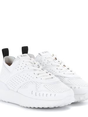 Białe sneakersy skorzane Tod's