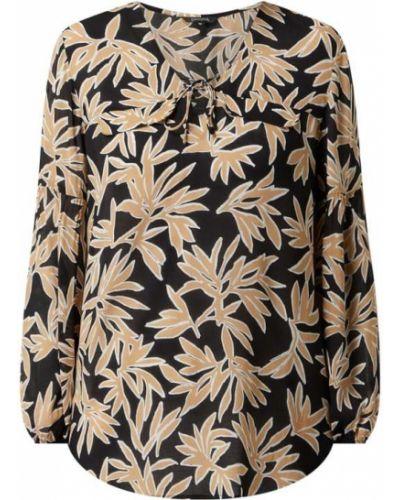 Czarna bluzka z wiskozy z dekoltem w serek Comma
