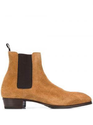 Кожаные коричневые кожаные ботинки на каблуке круглые Lidfort