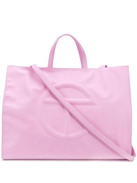 Różowa torba na ramię bawełniana Telfar