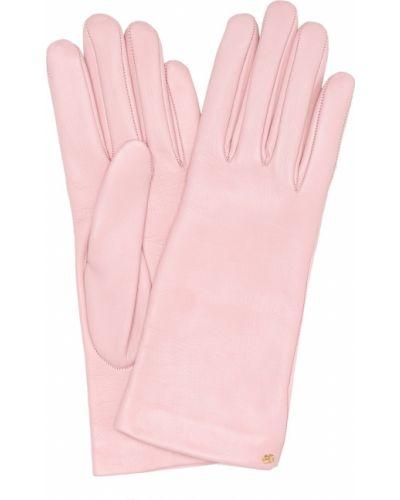 Розовые кожаные перчатки Gucci
