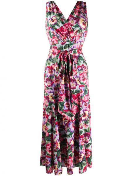 Розовое расклешенное платье с V-образным вырезом без рукавов Dolce & Gabbana