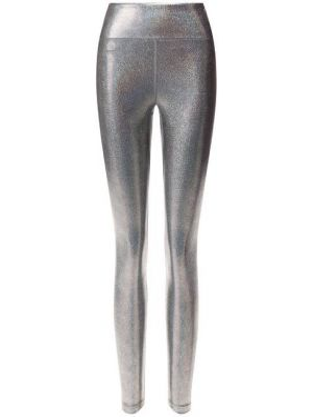 Нейлоновые спортивные серебряные леггинсы свободного кроя Heroine Sport