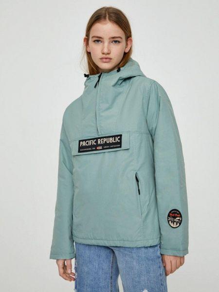 Утепленная куртка осенняя бирюзовый Pull&bear