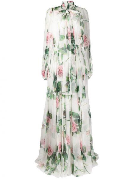 Шифоновое платье с бантом с воротником свободного кроя Dolce & Gabbana