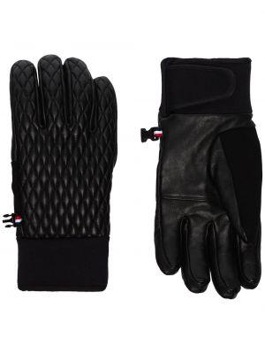 Черные теплые спортивные кожаные перчатки из овчины Fusalp