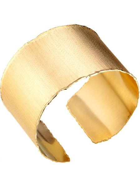 Желтый широкий браслет свободного кроя позолоченный с декоративной отделкой Madde