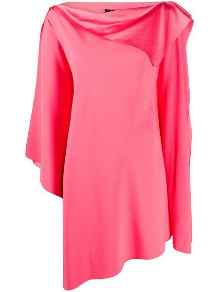 Асимметричное розовое платье миди с вырезом Paule Ka