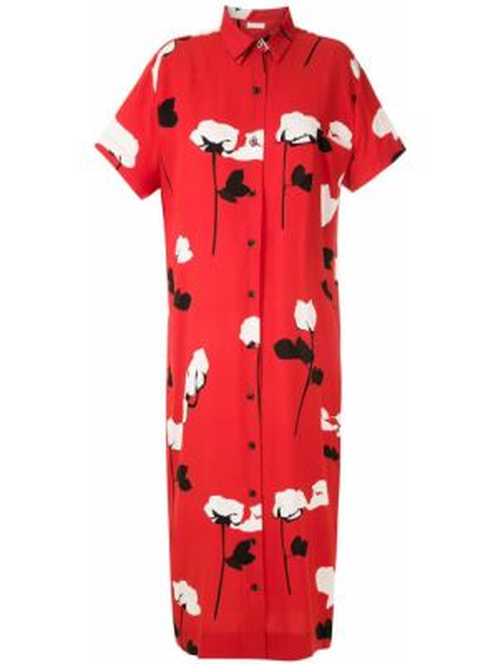 Красное классическое платье мини на пуговицах с воротником Osklen