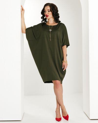 С рукавами зеленое трикотажное платье Lady Taiga