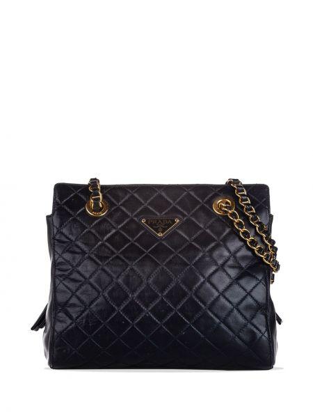 Кожаная черная стеганая сумка на цепочке на молнии Prada Pre-owned