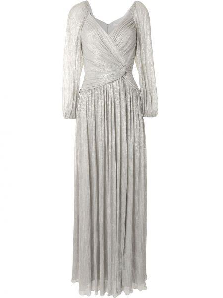 Серебряное платье макси с V-образным вырезом с длинными рукавами металлическое Jonathan Simkhai